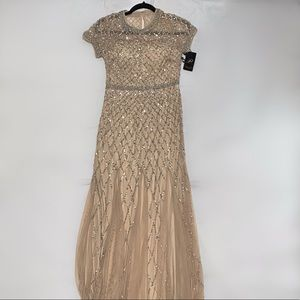 Adrianna Papell Beaded Mesh Gown in Champagne